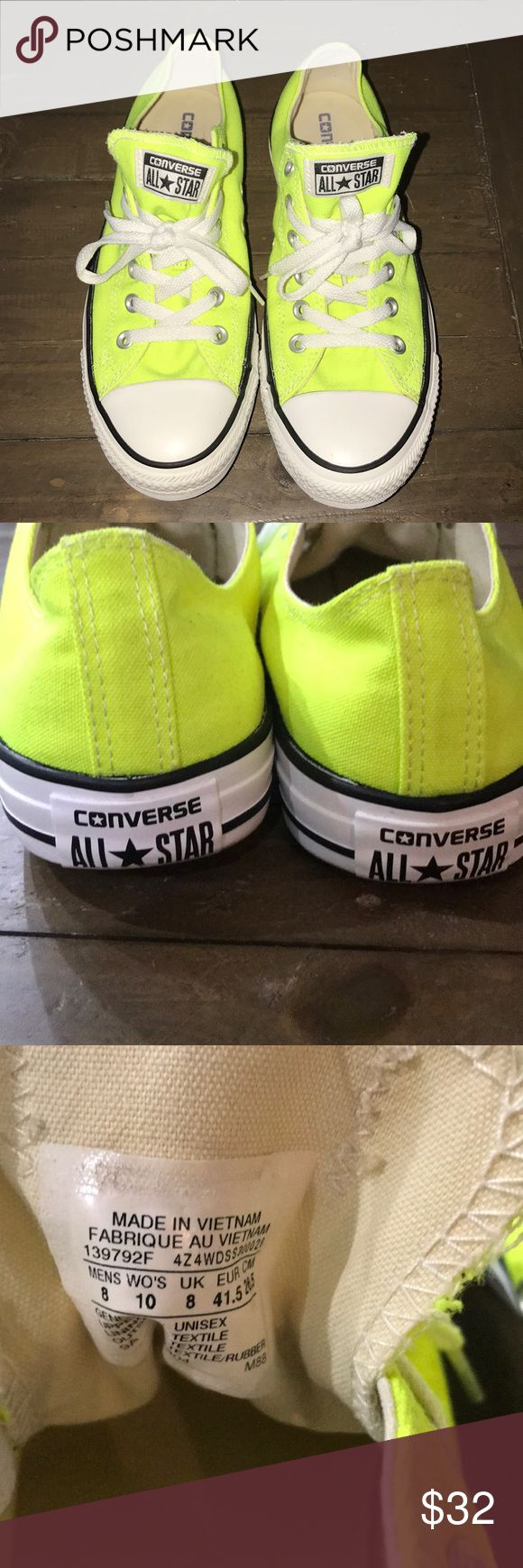 Unisex Converse All Star Neon Yellow Unisex Converse All Star Neon Yellow Worn once - Great Condition  Women's 8 Men's 10 Converse Shoes Sneakers #sneakersconverse