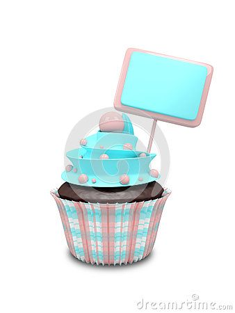 3d sweet cupcake with blank board isolated on white background