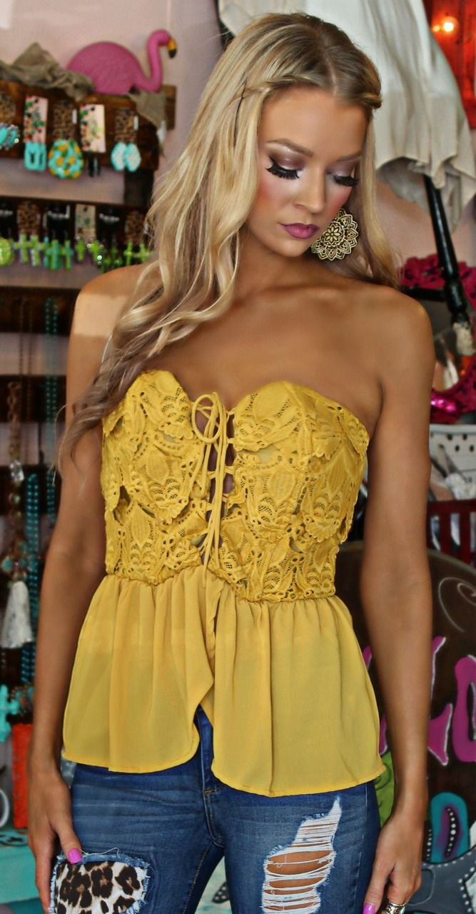 Mustard Crochet Lace up Strapless top - The Lace Cactus