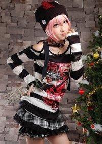 Punk Style Black & White Striped Shirt
