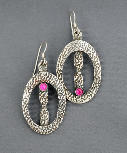 Fine silver with ruby earrings by Mirinda Kossoff