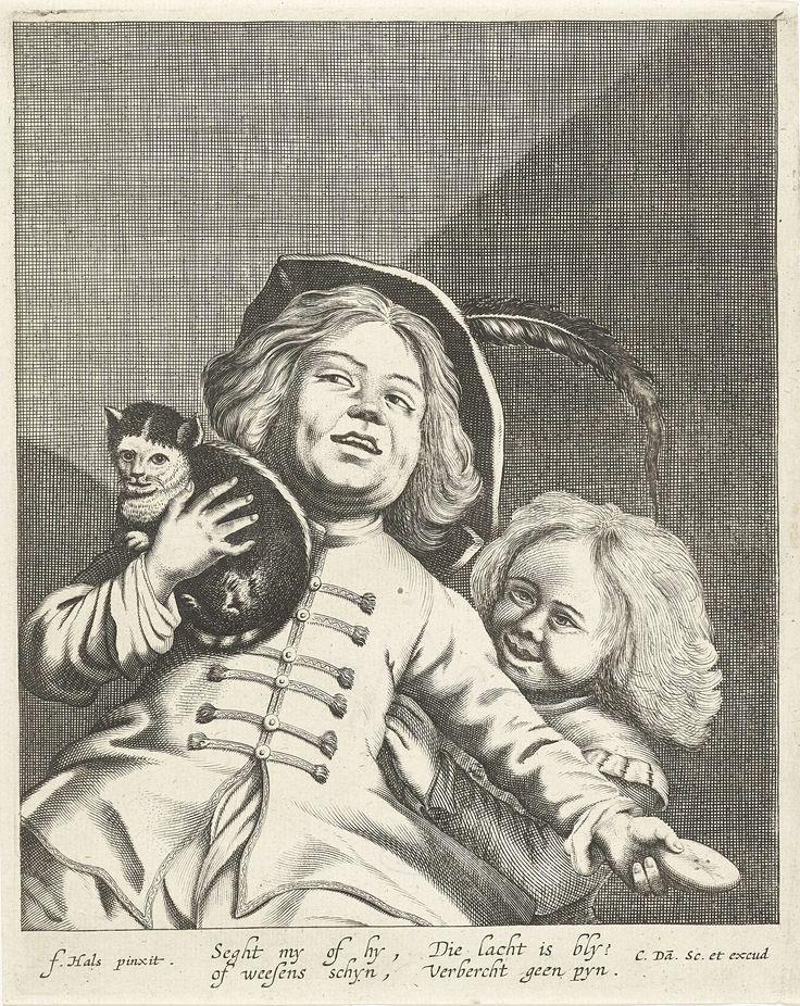 Cornelis Danckerts (I)   Lachende jongen en meisje met kat en koekje, Cornelis Danckerts (I), 1613 - 1656   Lachende jongen houdt een kat vast en een koekje, een lachend klein meisje kijkt over zijn schouder naar het dier. In de ondermarge Nederlands vers.