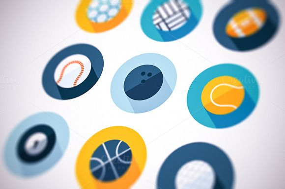 Check out Sports Icons Flat Set by painterr on Creative Market