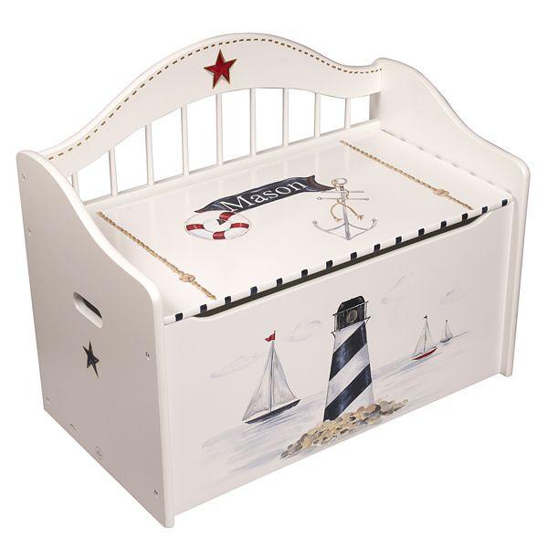 White Nautical Wooden Handpainted Storage Toy Chest