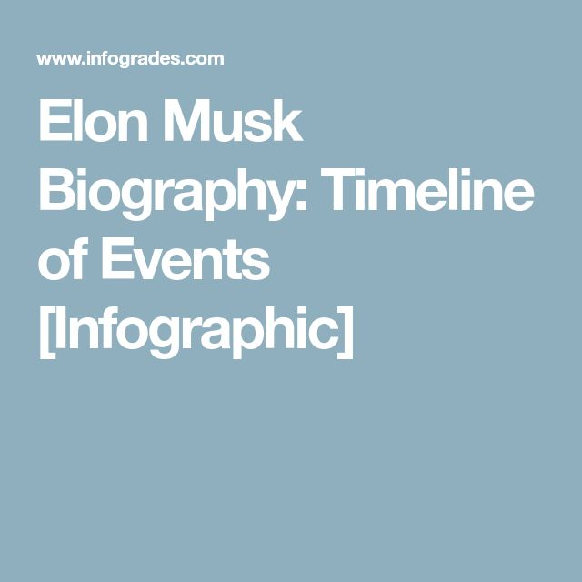 Elon Musk Biography: Timeline of Events [Infographic]