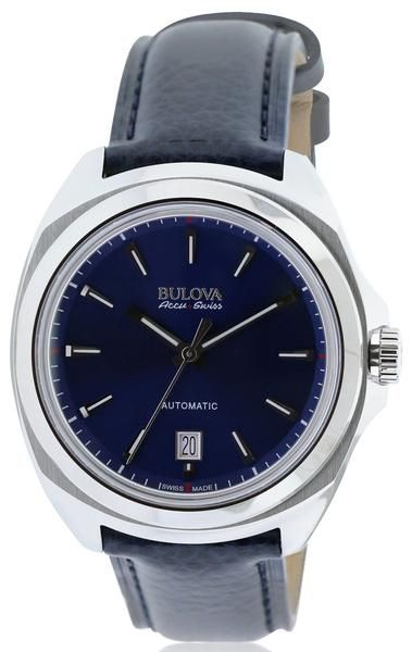 Bulova Accu-Swiss 63B185 Men's Telc Auto Blue Genuine Leather And Dial Ss Watch