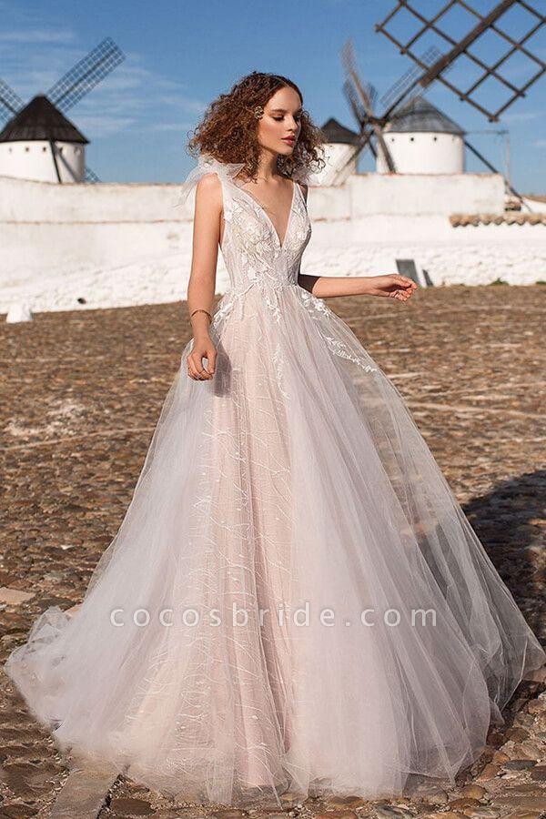 Chic Appliques V Neck Tulle A Line Wedding Dress In 2020 A Line Wedding Dress Vintage Wedding Dress Boho Wedding Dresses