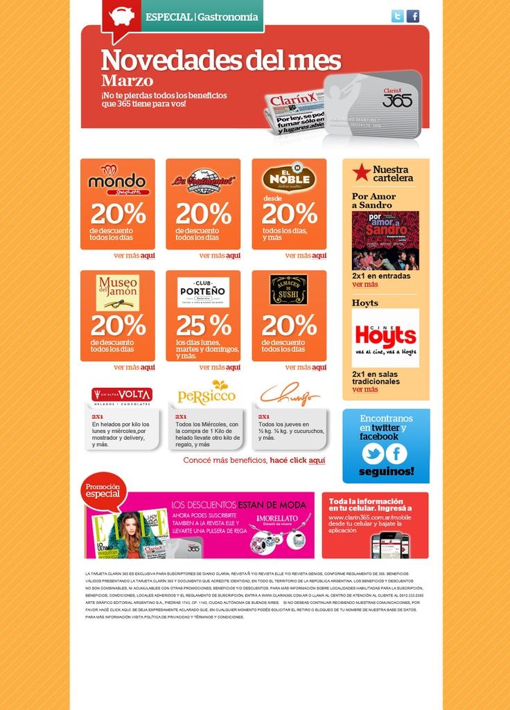 Diseño de sistema de newsletters de tarjeta 365 para agencia Grupo Pexo