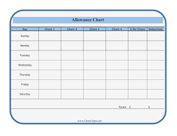 printable allowance charts | chart with deductions the allowance chart in this free printable ...