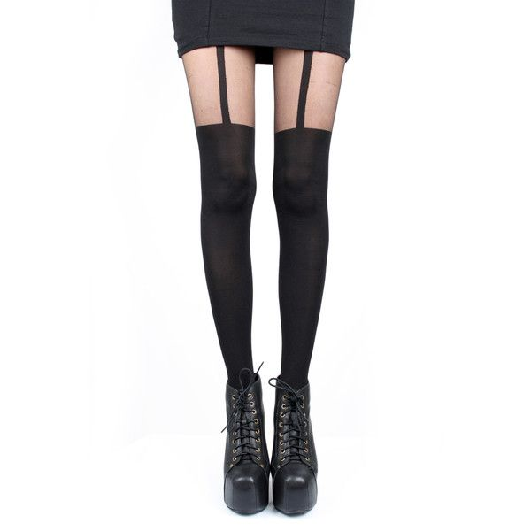 Pretty Polly Black Suspender Tights ($16) ❤ liked on Polyvore