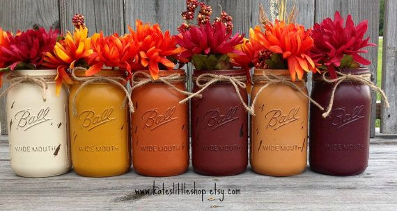 These are a beautiful way to add charm and warmth during the fall months or to match any home décor! This is for a set of wide mouth QUART size mason jars that are painted, distressed, sealed and twine applied.  YOU PICK HOW MANY JARS YOU WOULD LIKE FOR THIS ORDER.  Please put in the note to seller what colors you would like from the listing above.  Rustic Yellow Burnt Orange Brick Pumpkin  (Note picture #3 colors listed below) Cream Rustic Yellow Burnt Orange Brick Pumpkin Deep Plum…