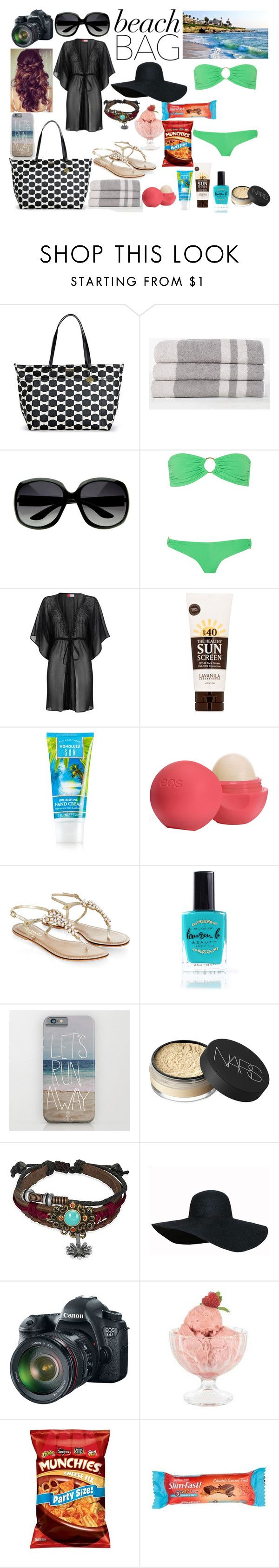 """""""whats in my beach bag"""" by sparkflower ❤ liked on Polyvore featuring Kate Spade, James Perse, Melissa Odabash, Wallis, Lavanila, Eos, Monsoon, Lauren B. Beauty, NARS Cosmetics and Bling Jewelry"""