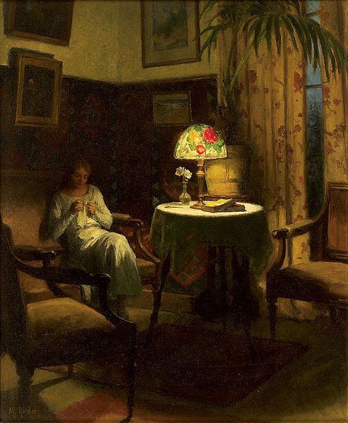 Young Woman Sewing - Marcel Rieder ~ (French: 1862-1942)