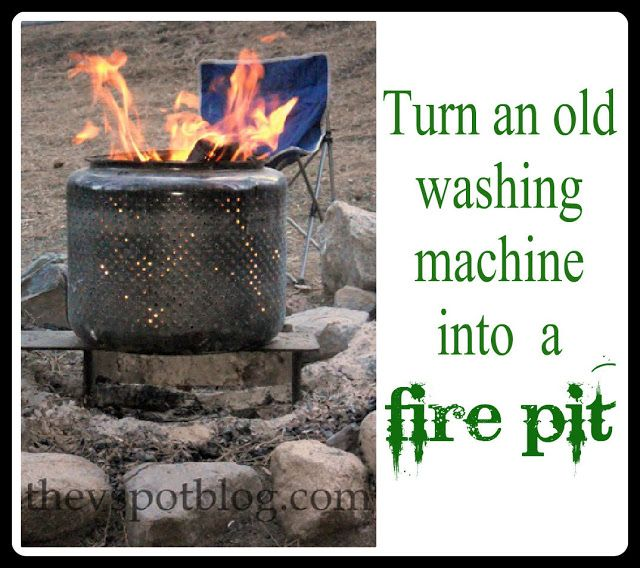 The V Spot: Turn your old washing machine into a fire pit. #bhgsummer