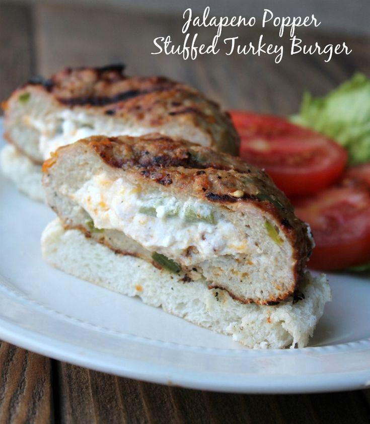Jalapeño Popper Stuffed Turkey Burger. Low carb make-ahead recipe.