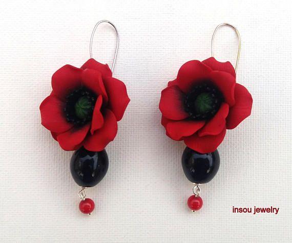 Poppy Poppy Earrings Red Earrings Poppy Jewelry Dangle