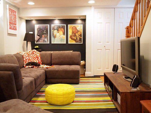 Small Basement Designs Family Room Design Ideas Sectional Sofa Yellow  Ottoman Colorful Rug