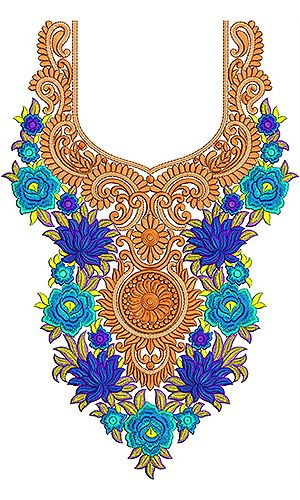 Ladies Boat Neck Embroidery Design