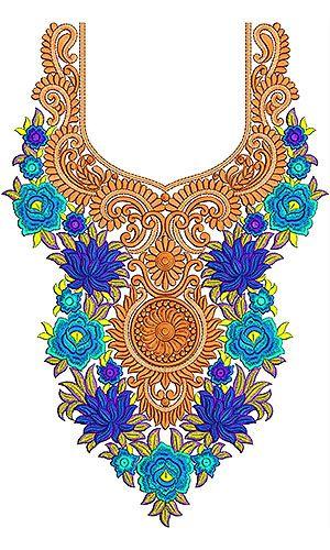 Ladies Boat Neck Embroidery Design