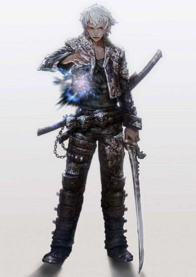 white haired swordsman anime