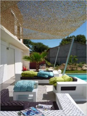 Filet camouflage en pare soleil jardin pinterest for Filet camouflage terrasse
