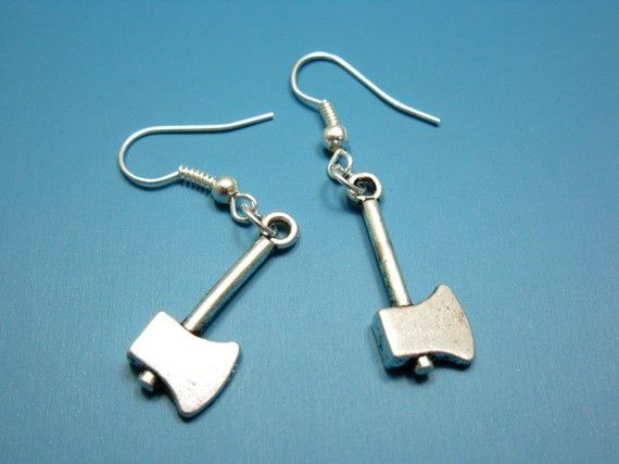 Perfect for serial killers/ hitchhikers/ vampire killing presidents.: Funny Earrings, Weapons Murders, Zombies Weapons, Axes Rings, Axes Earrings, Zombie Weapons, Earrings Zombies, Murders Tools, Funky Earrings