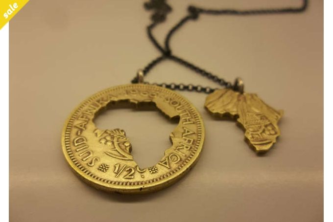 Coin Series - Pendant: Old brass 1/2 cent.Double Africa Cut away by Kallie on hellopretty.co.za