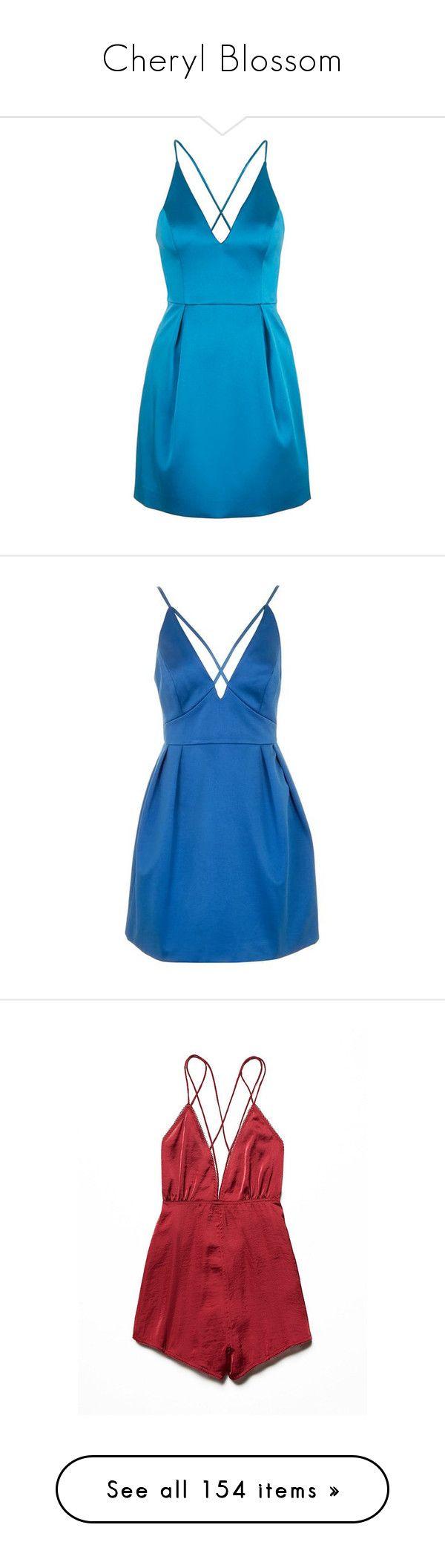 """Cheryl Blossom"" by rebellious-ingenue ❤ liked on Polyvore featuring dresses, short dresses, blue, blue mini dress, v neck dress, blue a line dress, satin dress, formal cocktail dresses, blue prom dresses and formal dresses"