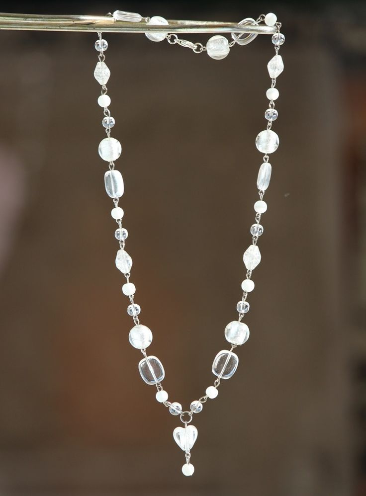 White beaded necklace made by HeartBeads. https://www.facebook.com/heartbeadsjewellery