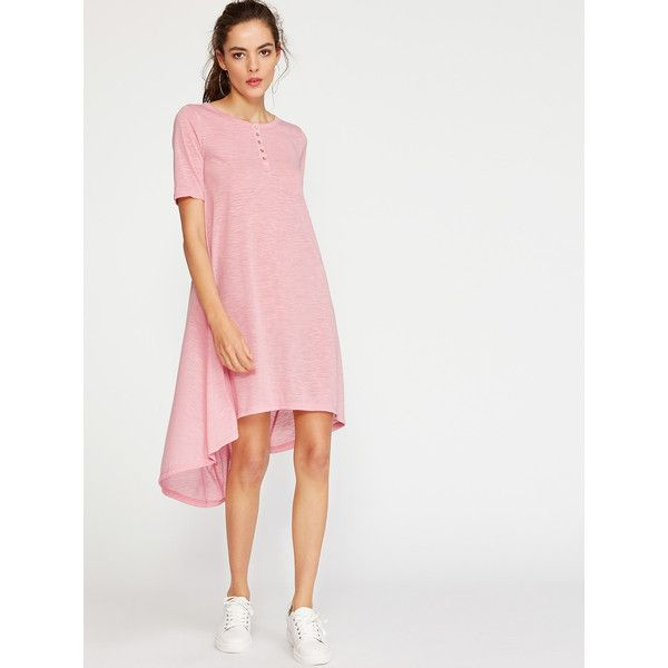 SheIn(sheinside) Button Front High Low Tee Dress (18 BAM) ❤ liked on Polyvore featuring dresses, pink, t shirt dress, shift dress, long-sleeve shift dresses, summer dresses and short pink dress