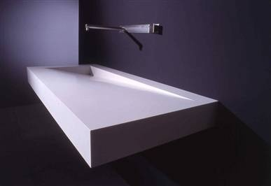 # Folio, corian washbasin by Boffi _goes with modern line tub. This would look great with the waterfall faucet I pinned.