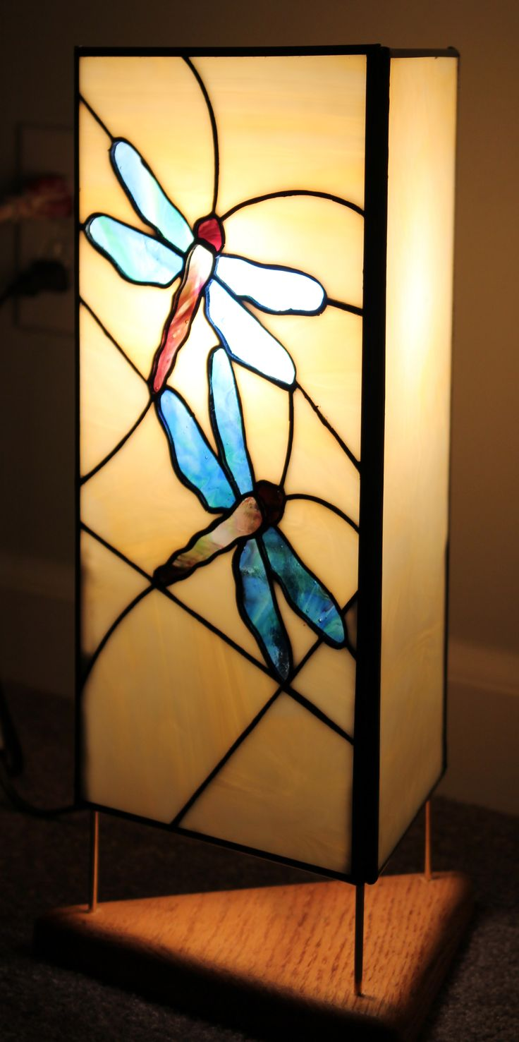 Stained Glass 3 Sided Table Lamp With Dragonfly Theme