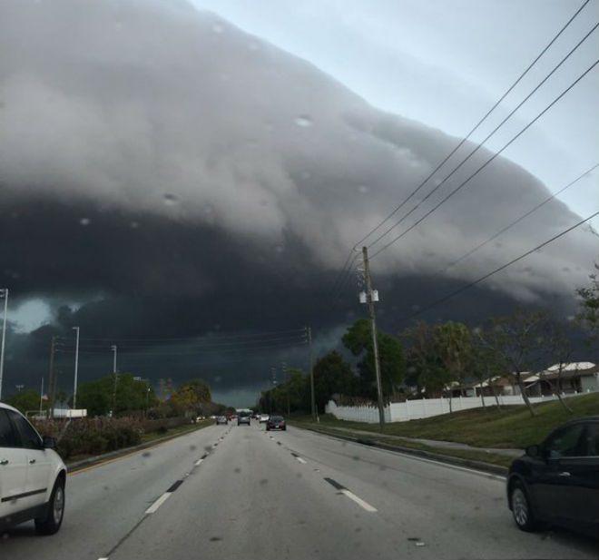 В американском штате Флорида появилось редкое шельфовое облако В районе залива Тампа Бэй в американском штате Флорида  25 марта появилось устрашающее облако, сообщает The Weather Channel. Такие облака появляются перед штормом или шквалом при резкой разнице температур в противостоящих друг другу фронтах. Как правило, они являются предвестниками ураганного ветра и сильной грозы.