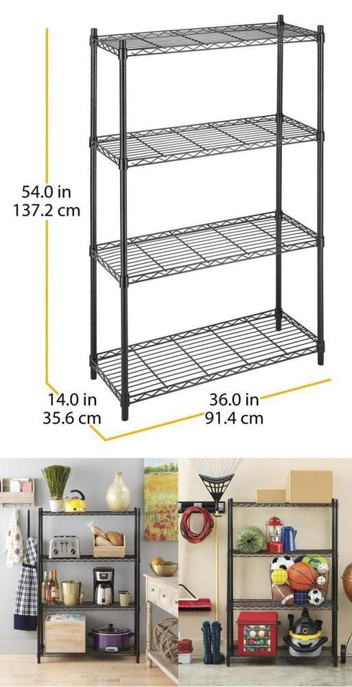 Supreme 4 Tier Shelving System Epoxy Coated Garage Kitchen Pots Basement Closet #Whitmor