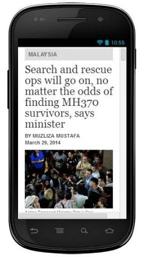 Talk about all the news and videos of Malaysia flight MH370.<br>Catch the latest news updates about MH370 simply using one app.<br>MH370 is a flight number of Malaysia Airline that carrying 239 people to Beijing and lost contact with air traffic control two hours into the journey.<br>This app is your one-stop Malaysia News that gives you almost complete set of Easy, Fast & Comprehensive Malaysia news reader. <br>Find the latest Malaysia and international news anytime & anywhere on your…