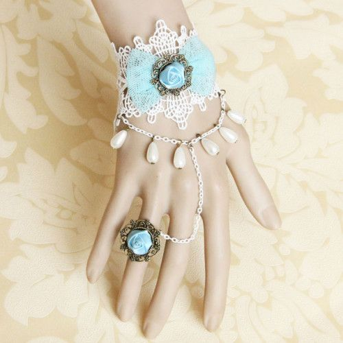 Elegant Lace Alloy Chain Pearl Satin Retro Style Women's Bracelet