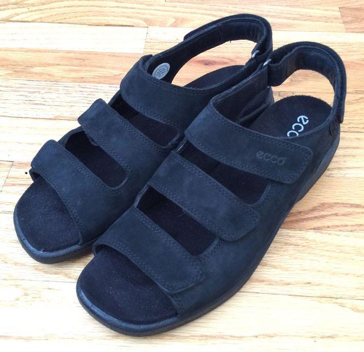 Ecco Sandals 40 / 9 - 9.5 Black Leather Hook Loop COMFORT Adjustable Strap Shoes  | eBay
