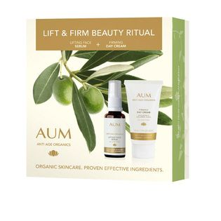 AUM Lift and Firm Beauty Ritual Pack - $39.95. An effective daily regimen for a smooth and youthful looking complexion.   Nourish skin with anti age botanicals that work to support the skin structure, plump and stimulate cellular renewal. Immediately skin looks more radiant, over time lines appear smoothed out and the face lifted.