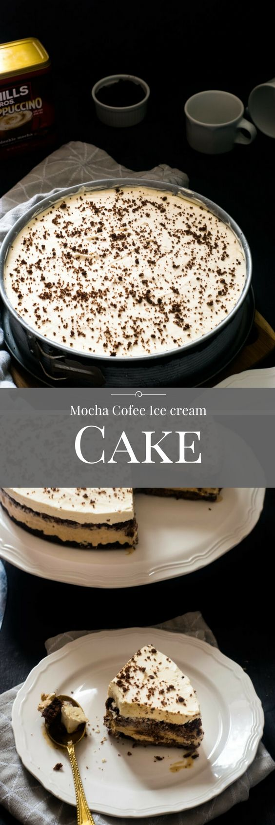 Double Mocha Coffee Ice Cream Cake using @HillsBrosCappuccino is a wonderful cake to end summers.