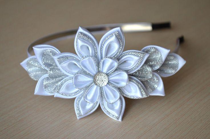 Белый ободок Мастер класс канзаши цветы из лент DIY White hair band hand...