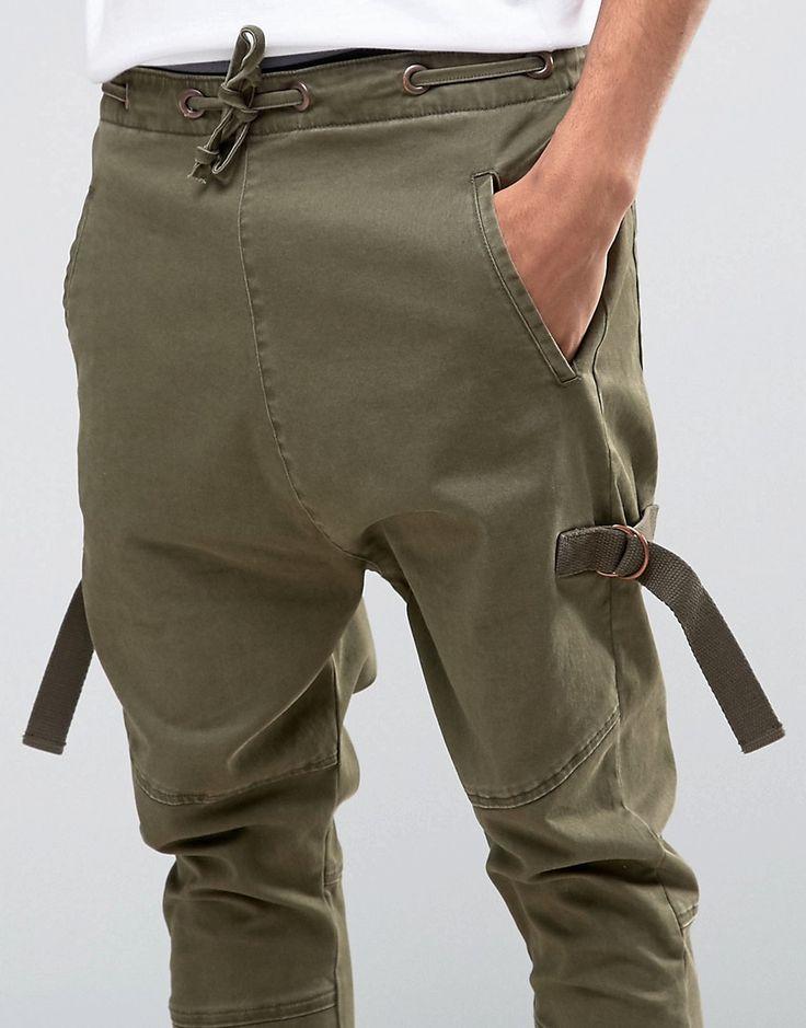 Image 3 - ASOS - Pantalon de jogging à entrejambe bas et galons - Kaki clair
