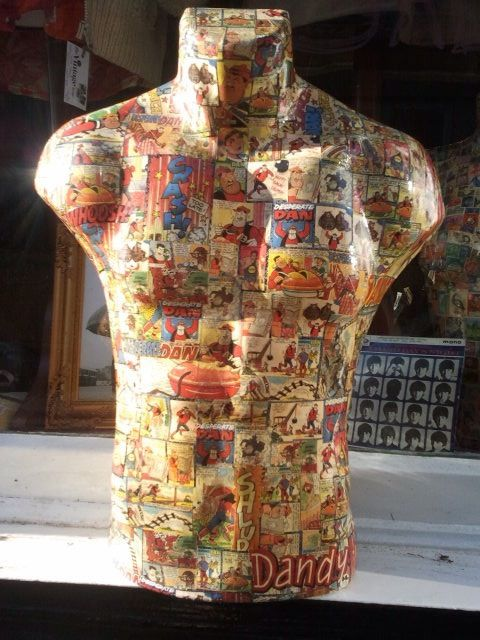 Male mannequin decoupaged with vintage Dandy comics by MothCloth