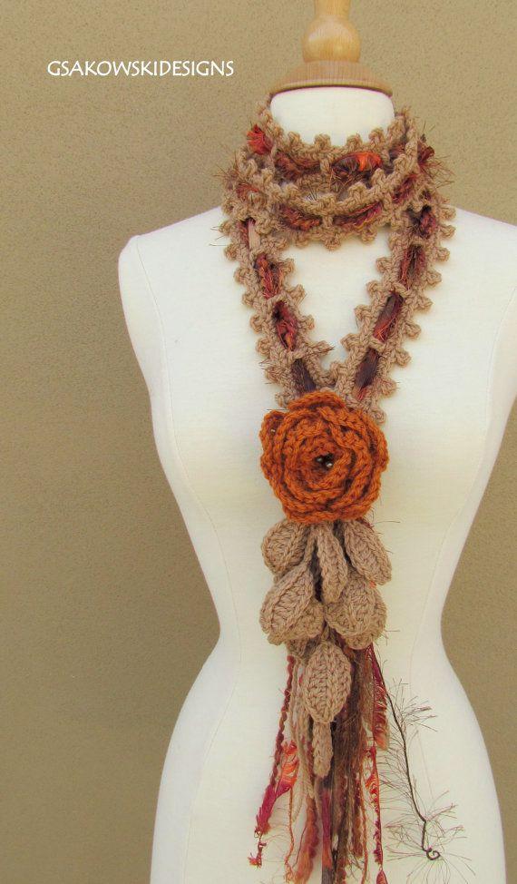 Queen Ann Rose Lariat-Rust от gsakowskidesigns на Etsy