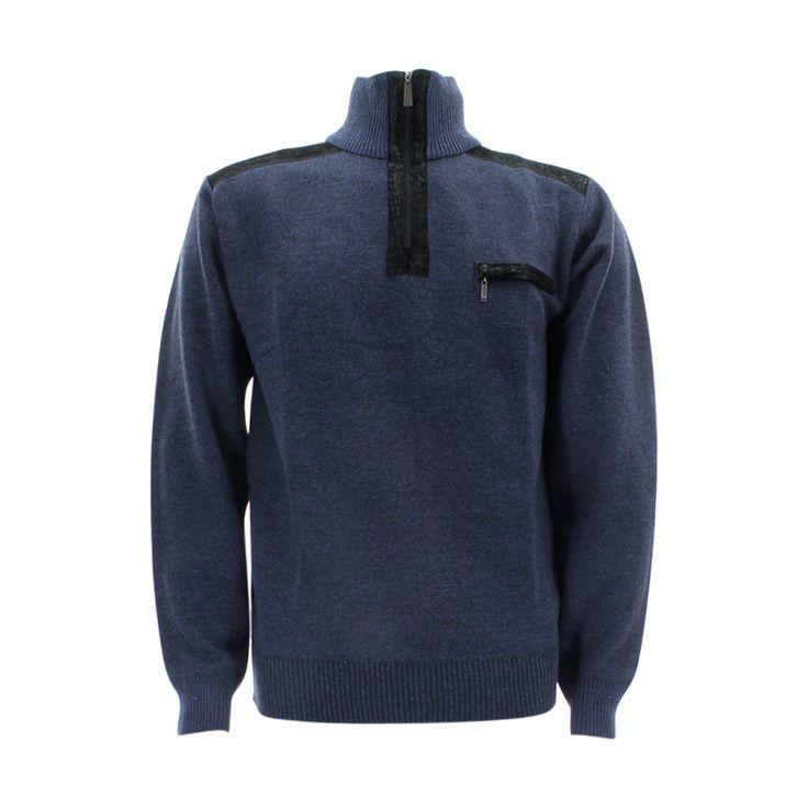 Alberto Cardinali - Men's 1/4 Zip With Pocket Sweatshirt - Navy