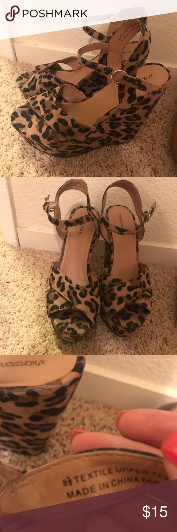Fun sassy leopard wedges! Fun sassy leopard wedges great for brunch or summer nights! Only worn once or twice! Size 8 1/2 Xhilaration Shoes Wedges