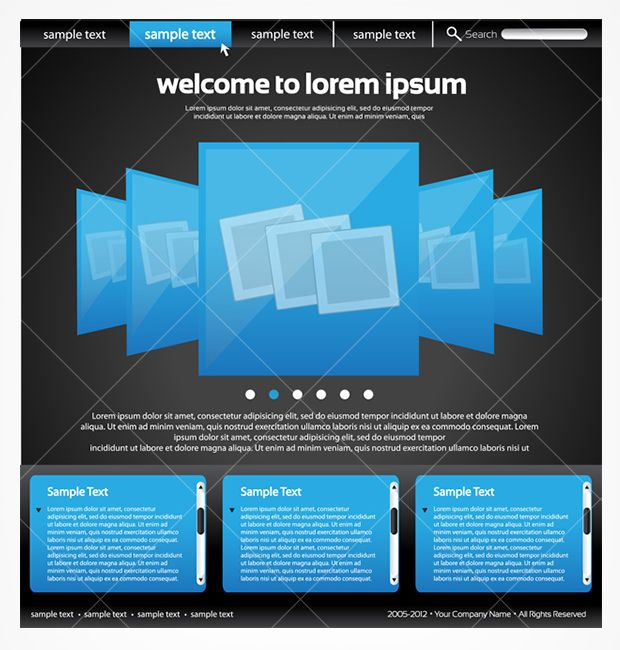 Sleek black and blue website template PSD - edit to make it your own!