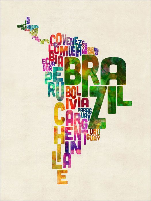 South America Map Typography Text Map of Central by artPause                                                                                                                                                     More