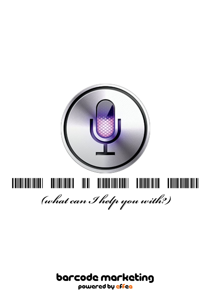 """Barcode Siri """"What can I help you with?"""""""