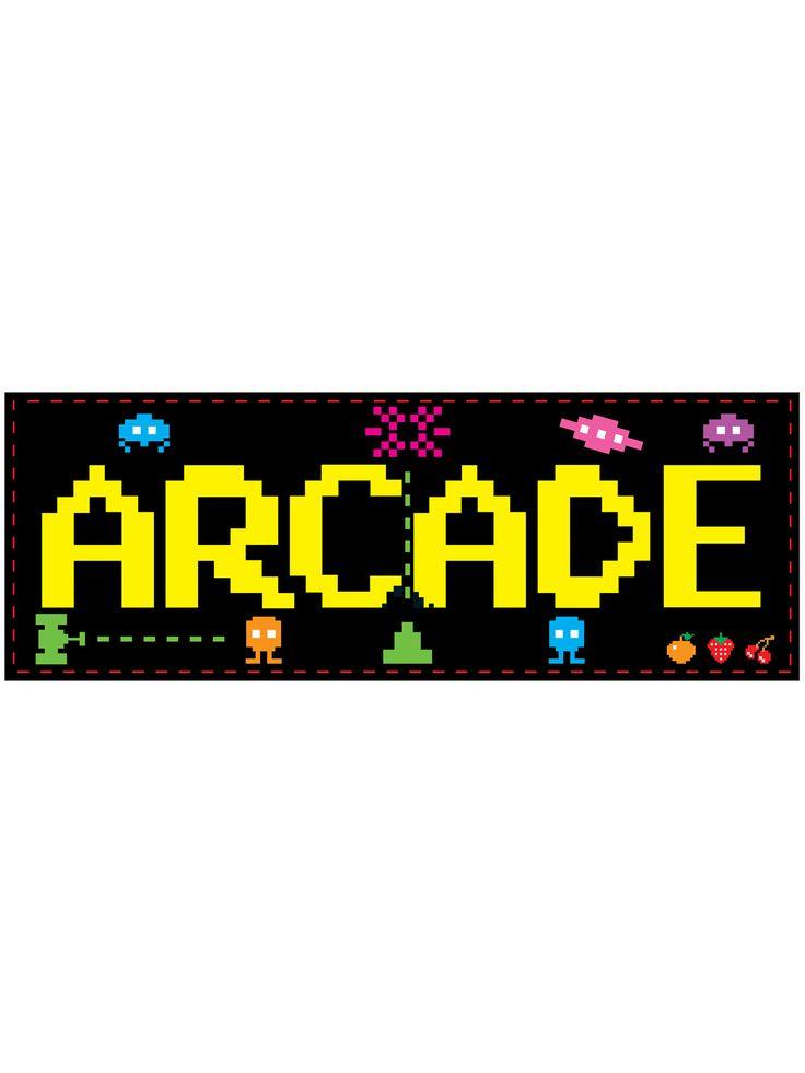 Decorazione a muro Arcade anni '80 56 x 20 cm su VegaooParty, negozio di articoli per feste. Scopri il maggior catalogo di addobbi e decorazioni per feste del web,  sempre al miglior prezzo!