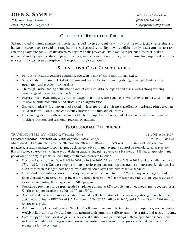 Corporate Resume Examples Trainer Sample Recruiter Samples Free Resumes Tips Example